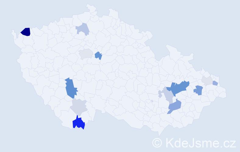 Příjmení: 'Kalamárová', počet výskytů 27 v celé ČR