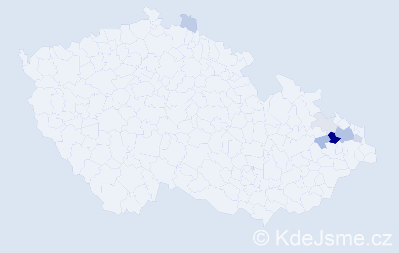 Příjmení: 'Hoš', počet výskytů 25 v celé ČR