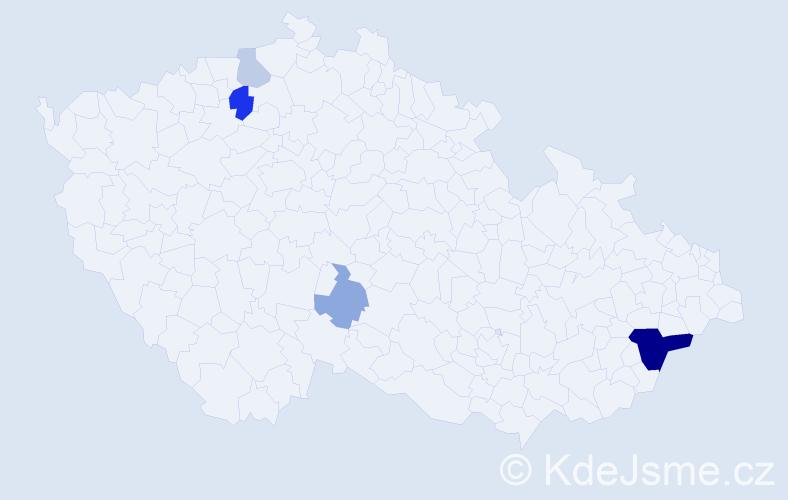 Příjmení: 'Kajzerová', počet výskytů 11 v celé ČR