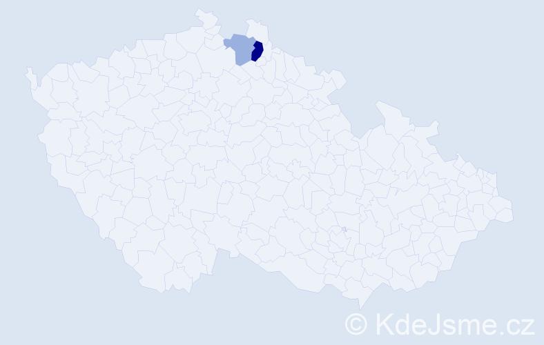 Příjmení: 'Albani', počet výskytů 4 v celé ČR