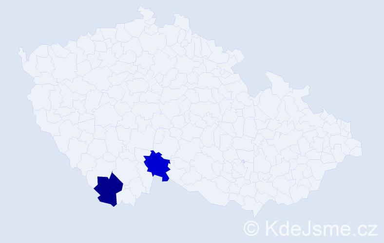 Příjmení: 'Hanslbauerová', počet výskytů 2 v celé ČR