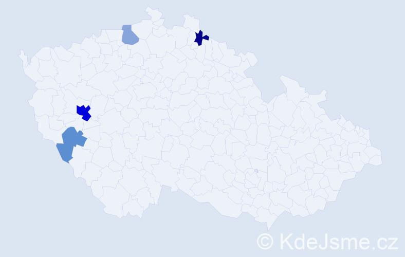 Příjmení: 'Čardová', počet výskytů 8 v celé ČR