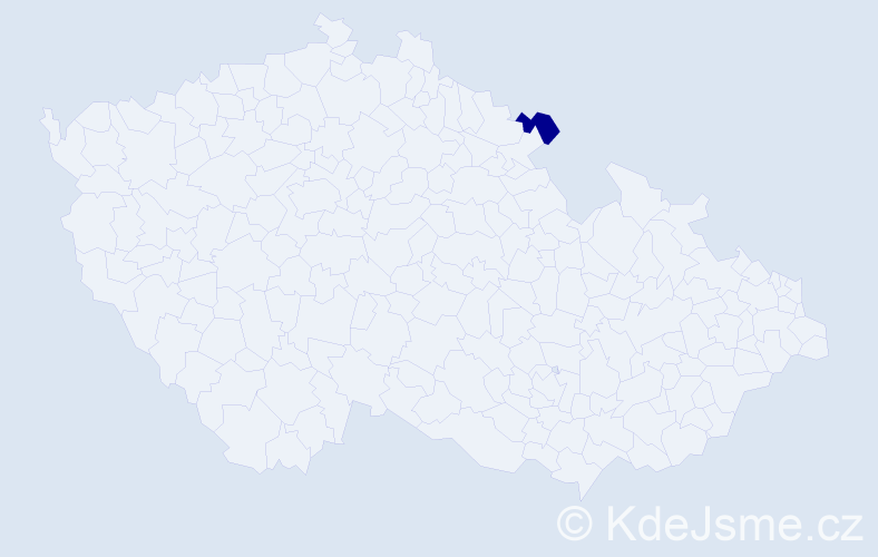 Příjmení: 'Bohanský', počet výskytů 5 v celé ČR