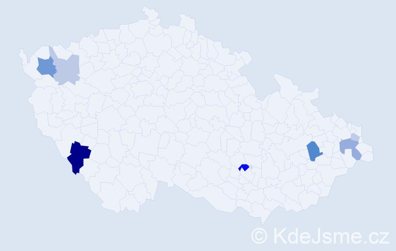 Příjmení: 'Lajčák', počet výskytů 14 v celé ČR