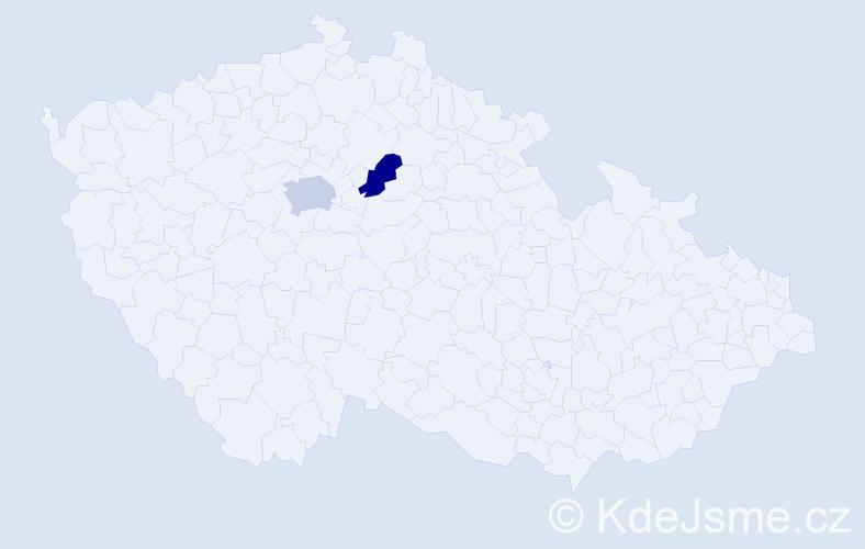 Příjmení: 'Fandák', počet výskytů 5 v celé ČR