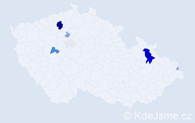 Příjmení: 'Kaduk', počet výskytů 15 v celé ČR