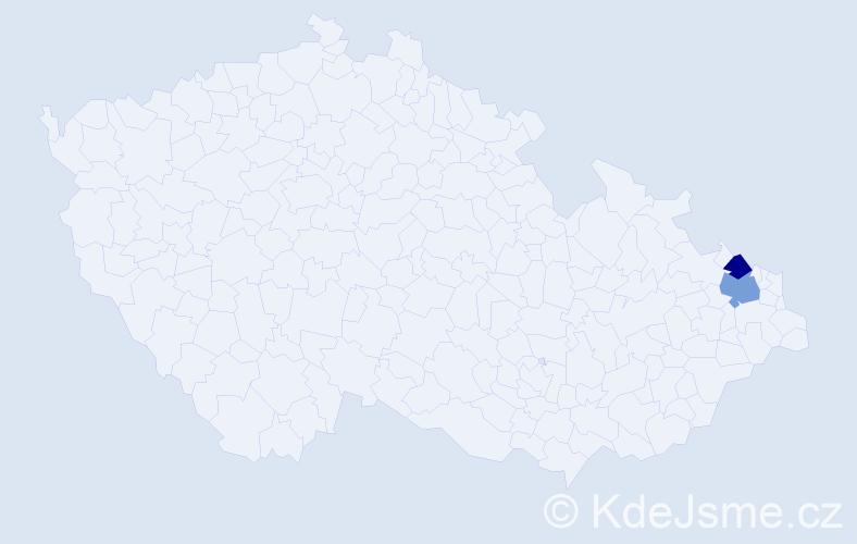Příjmení: 'Kamradková', počet výskytů 5 v celé ČR
