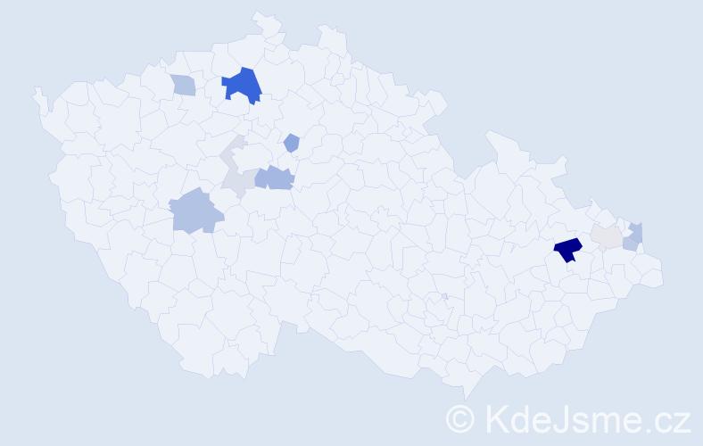 Příjmení: 'Hodermarský', počet výskytů 25 v celé ČR