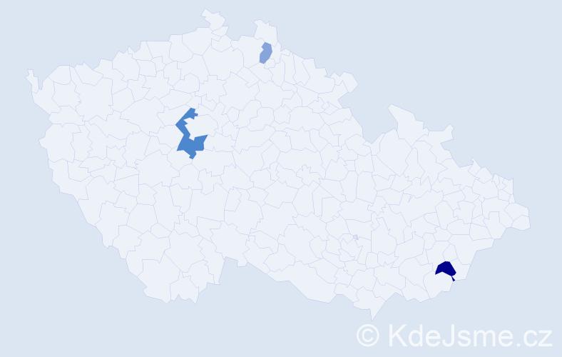 Příjmení: 'Kopačíková', počet výskytů 12 v celé ČR