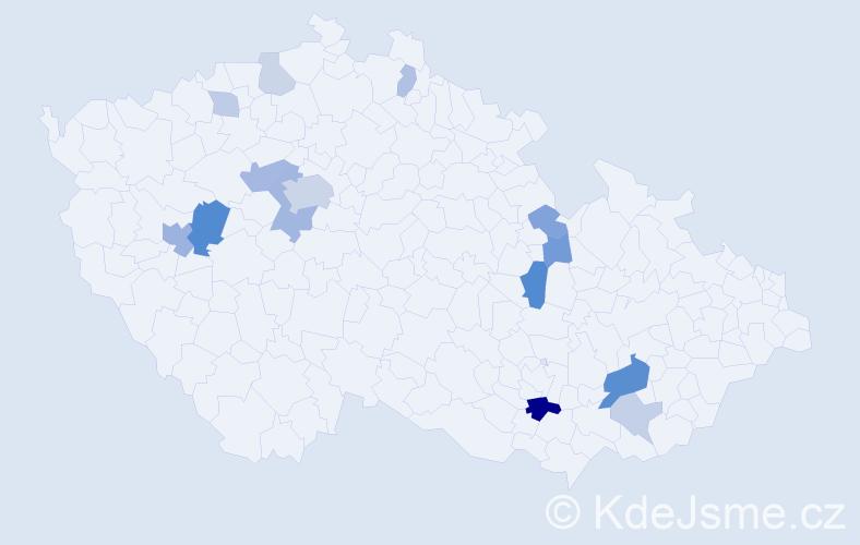 Příjmení: 'Kost', počet výskytů 33 v celé ČR