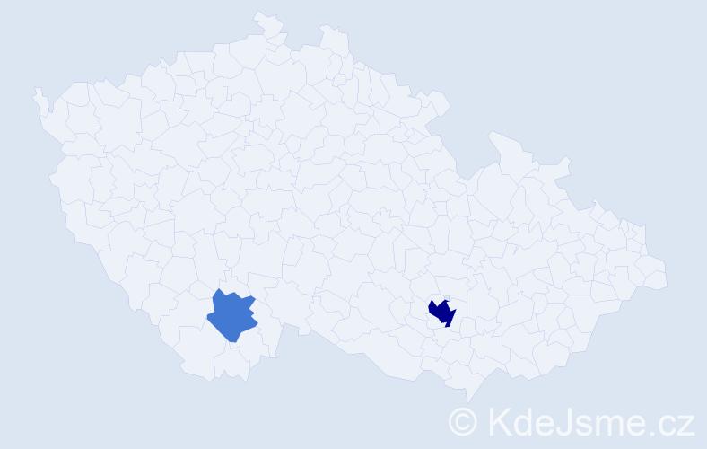 Příjmení: 'Cipr', počet výskytů 5 v celé ČR