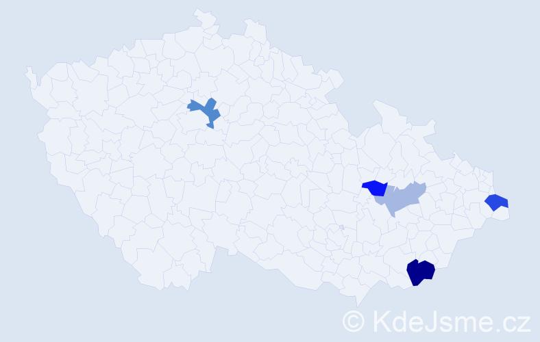 Příjmení: 'Halaksa', počet výskytů 9 v celé ČR