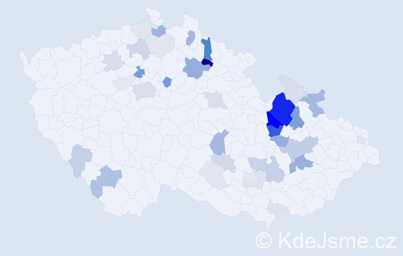Příjmení: 'Holouš', počet výskytů 126 v celé ČR