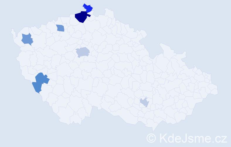 Příjmení: 'Lekner', počet výskytů 11 v celé ČR