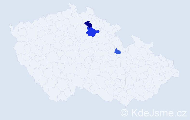 Příjmení: 'Kapušník', počet výskytů 5 v celé ČR
