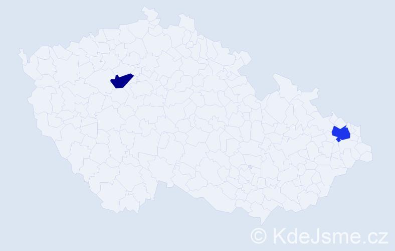 Příjmení: 'Gmiterková', počet výskytů 5 v celé ČR