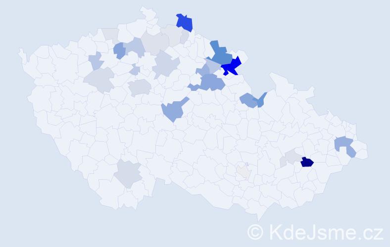Příjmení: 'Celba', počet výskytů 84 v celé ČR