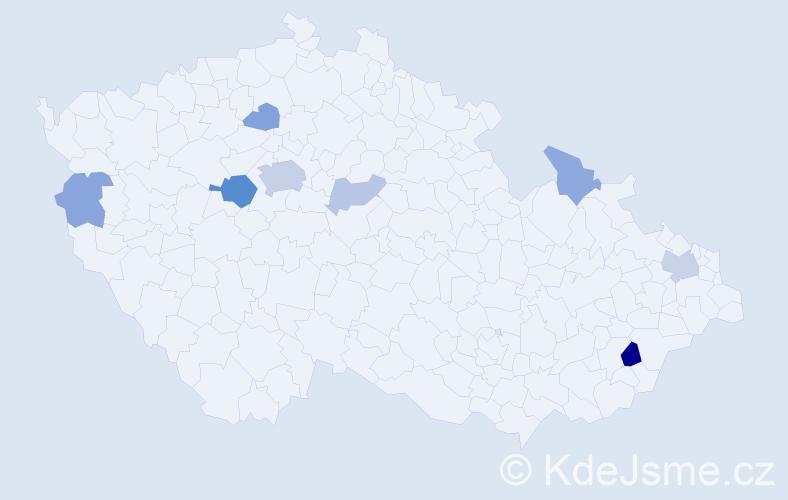 Příjmení: 'Kabil', počet výskytů 18 v celé ČR