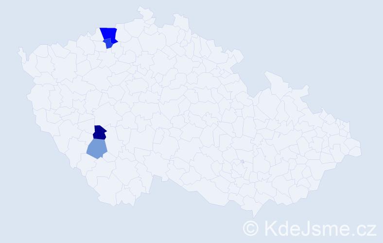 Příjmení: 'Bojer', počet výskytů 8 v celé ČR