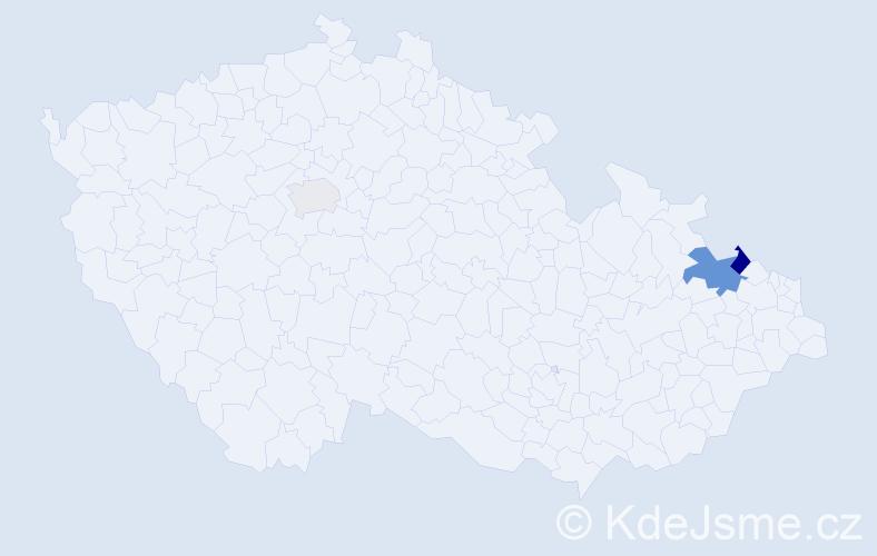 Příjmení: 'Kapinosová', počet výskytů 6 v celé ČR