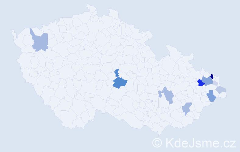 Příjmení: 'Honkyšová', počet výskytů 29 v celé ČR