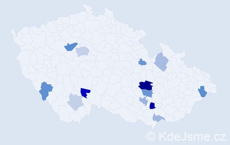 Příjmení: 'Hrouz', počet výskytů 31 v celé ČR