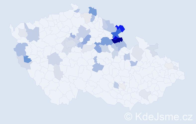 Příjmení: 'Hencl', počet výskytů 116 v celé ČR