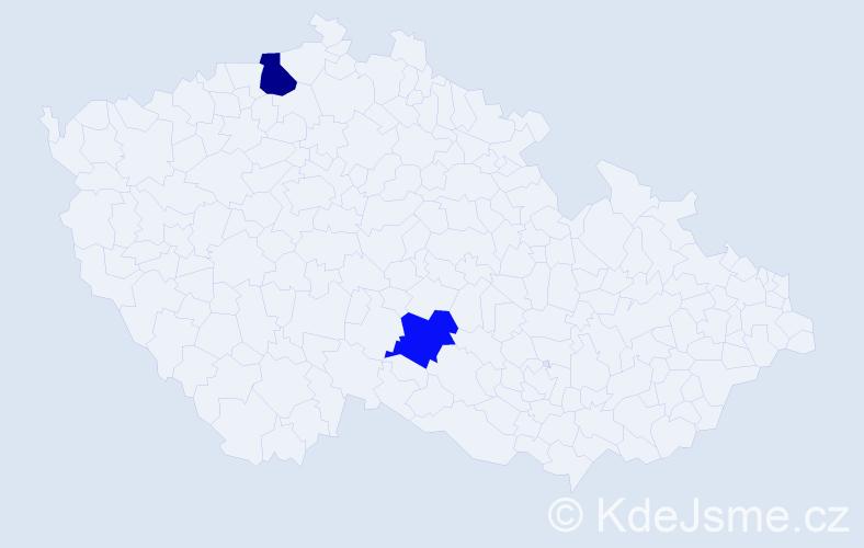 Příjmení: 'Lapšo', počet výskytů 5 v celé ČR