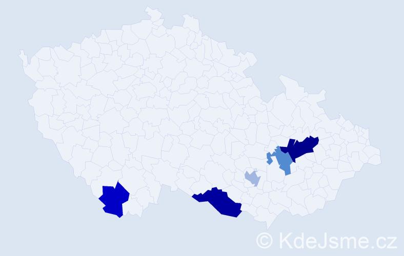 Příjmení: 'Ignácek', počet výskytů 8 v celé ČR