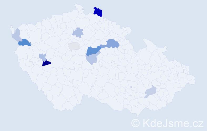 Příjmení: 'Knížák', počet výskytů 27 v celé ČR
