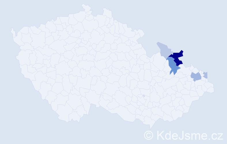 Příjmení: 'Brindžáková', počet výskytů 22 v celé ČR