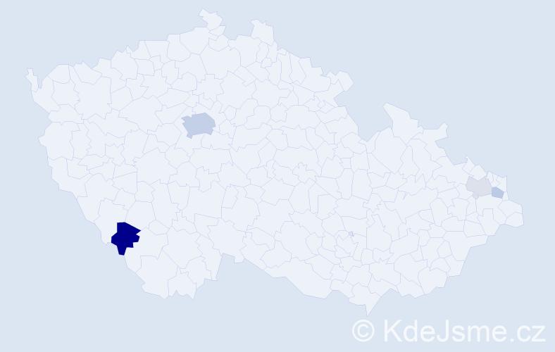 Příjmení: 'Csiszár', počet výskytů 11 v celé ČR