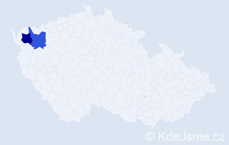 Příjmení: 'Izzatová', počet výskytů 5 v celé ČR