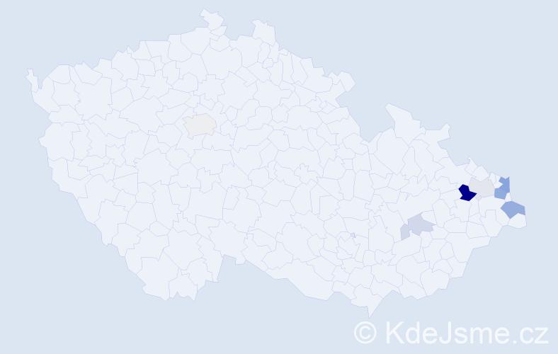 Příjmení: 'Fusik', počet výskytů 16 v celé ČR