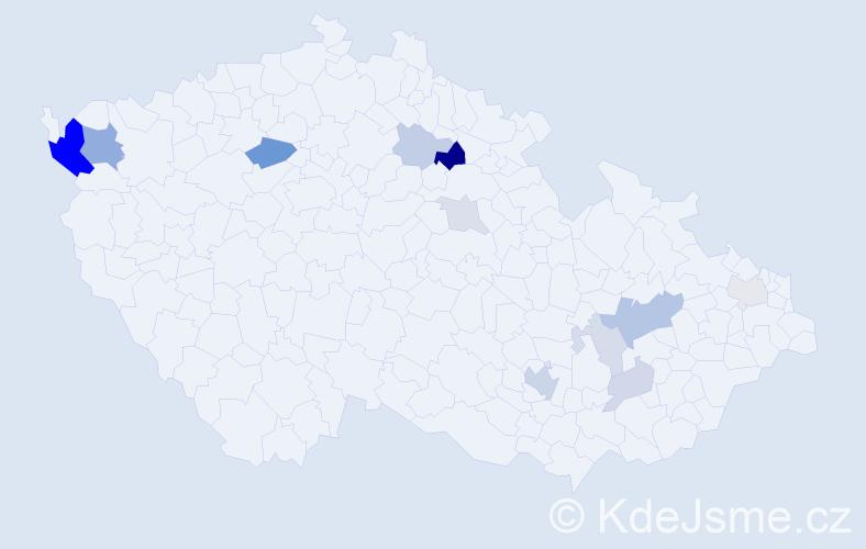Příjmení: 'Kumaj', počet výskytů 31 v celé ČR