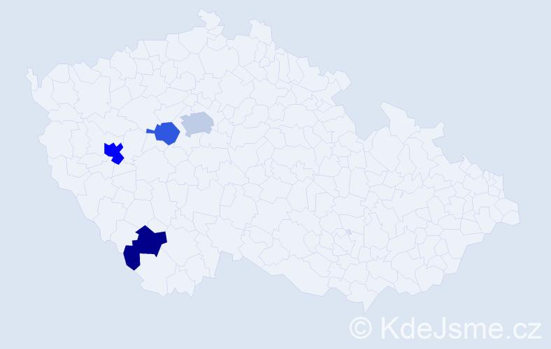 Příjmení: 'Adjal', počet výskytů 7 v celé ČR