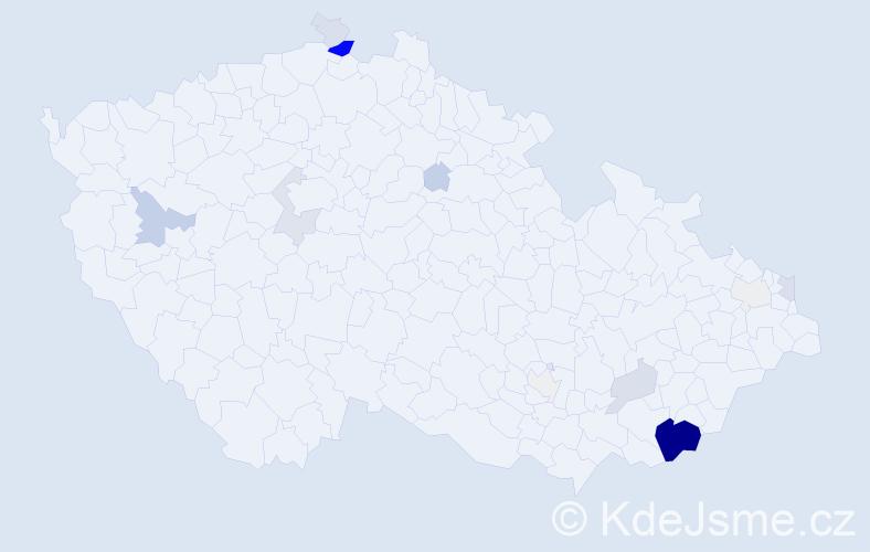 Příjmení: 'Bulejko', počet výskytů 56 v celé ČR