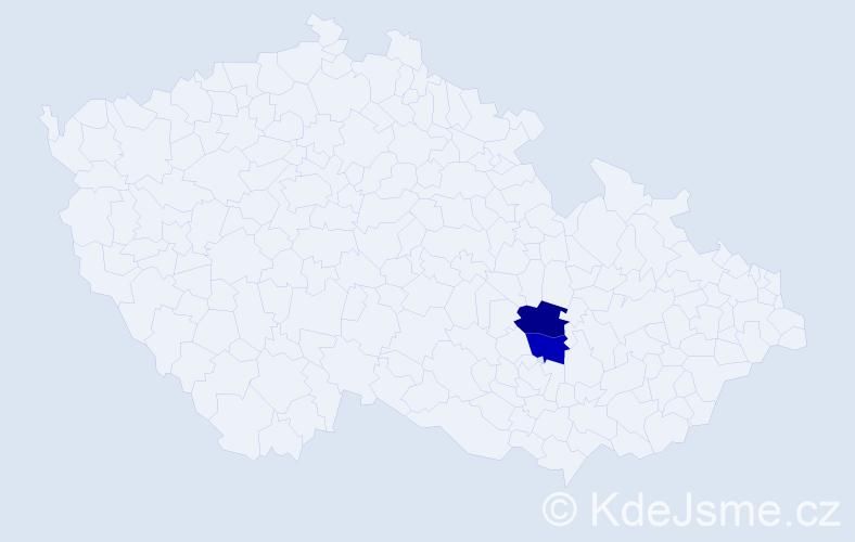 Příjmení: 'Ďugoš', počet výskytů 4 v celé ČR
