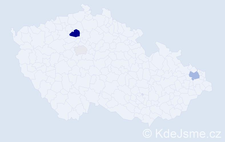 Příjmení: 'Čája', počet výskytů 5 v celé ČR