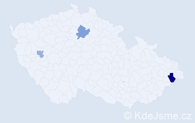 Příjmení: 'Árpa', počet výskytů 3 v celé ČR