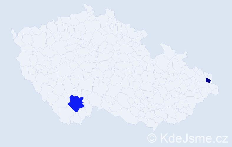 Příjmení: 'Bahri', počet výskytů 2 v celé ČR