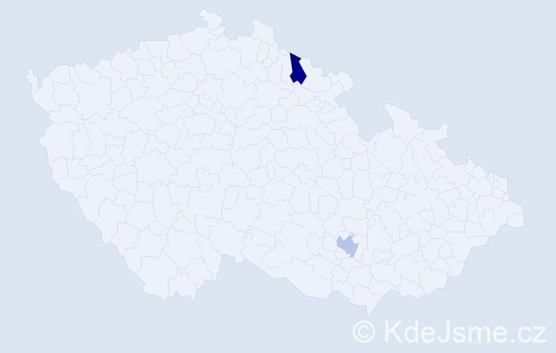 Příjmení: 'Dankó', počet výskytů 4 v celé ČR