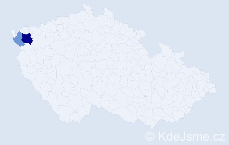 Příjmení: 'Czelderová', počet výskytů 5 v celé ČR