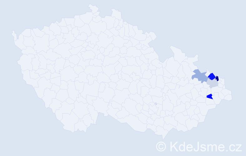 Příjmení: 'Děngl', počet výskytů 7 v celé ČR