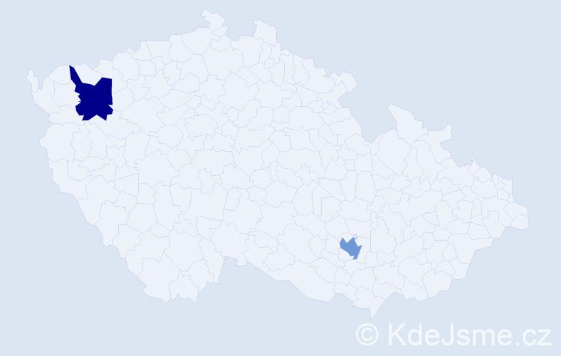 """Příjmení: '""""El Tobgi""""', počet výskytů 2 v celé ČR"""