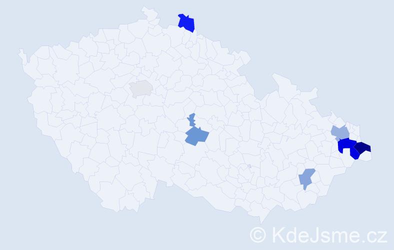 Příjmení: 'Dančevská', počet výskytů 13 v celé ČR