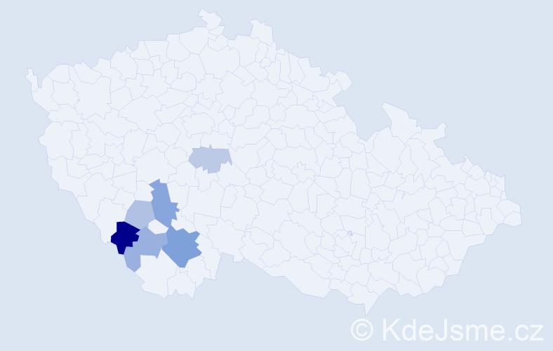 Příjmení: 'Hajtingrová', počet výskytů 13 v celé ČR