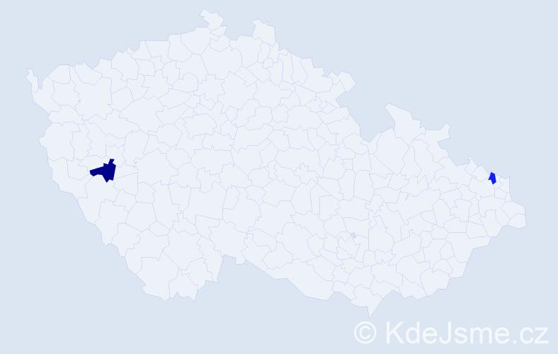 Příjmení: 'Čenka', počet výskytů 2 v celé ČR