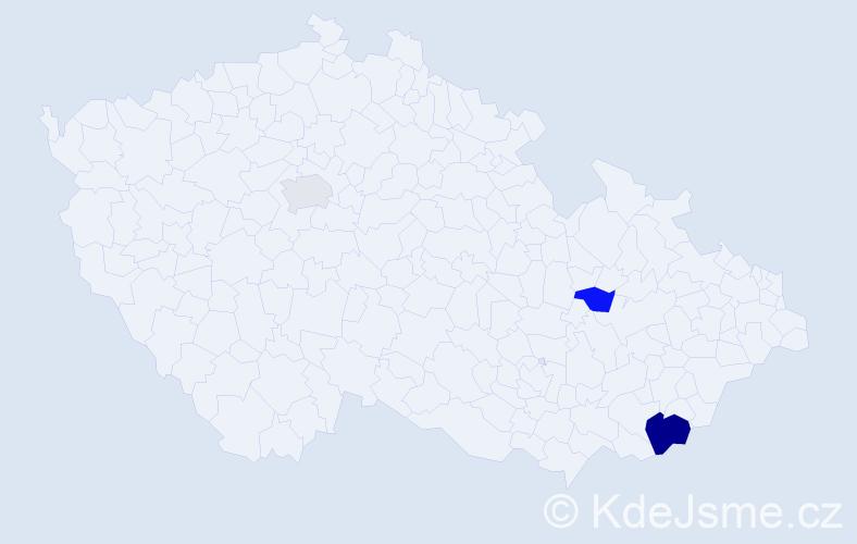 Příjmení: 'Hiermann', počet výskytů 5 v celé ČR