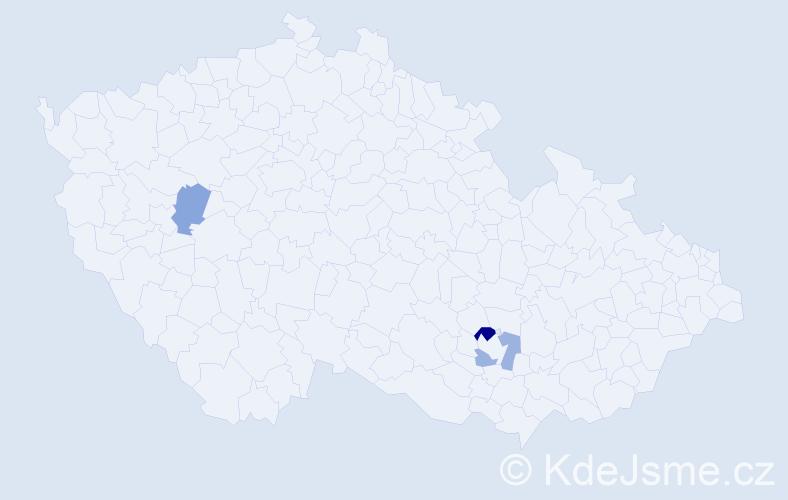 Příjmení: 'Čikovová', počet výskytů 4 v celé ČR